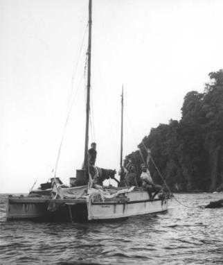 Tangaroa double canoe on the sea