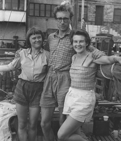 Jutta, James and Ruth posing for a photograph before their maiden voyage across the Atlantic