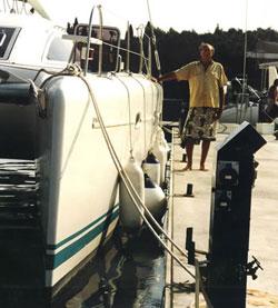 James Wharram with modern catamaran