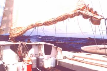 'Spirit of Gaia'- foresail with 4 reefs taken in gale conditions in South Pacific