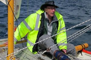 James Wharram - British pioneer of the modern catamaran - sailing Amatasi