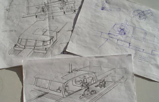 Sketches of boat designs