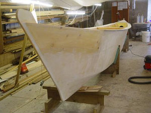 Unpainted Amatasi hull in workshop