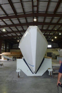 Ariki 47 hull in workshop