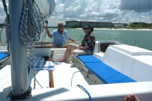 James and David sailing Tiki 8m