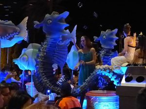 Light up sea horses in a procession