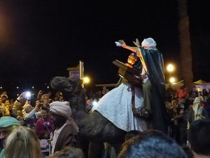 A king on a camel in a procession