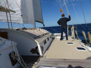 Matt at the bow of Hecate