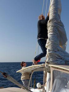 Matt lowering the mizzen sail
