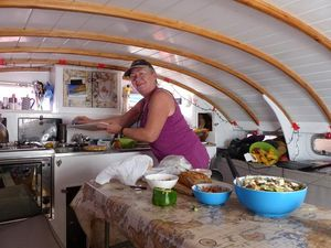 Suzanne preparing lunch in Hecate deckpod