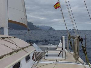 View of Tenerife off the starboard bow