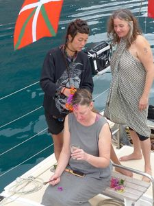 Catherine being prepared for her wedding on deck