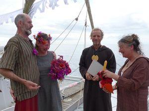 The wedding ceremony underway