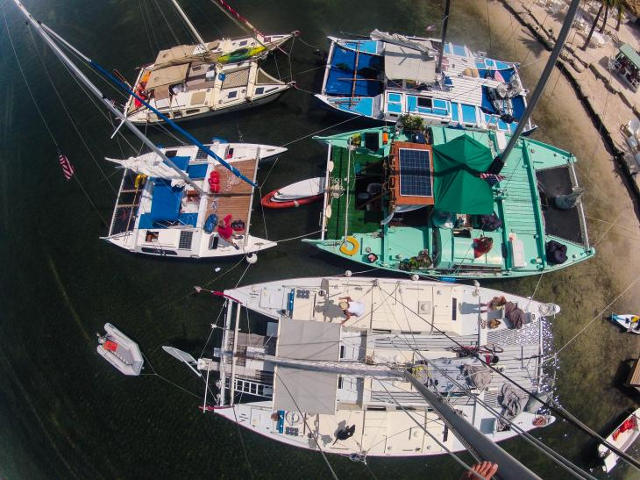 Arial view of 5 Wharram boats by the shore