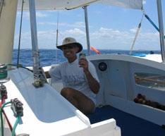 Dave Vinnicombe aboard Tiki 38 Dragon