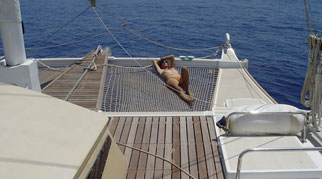 Sunbathing on the bow netting