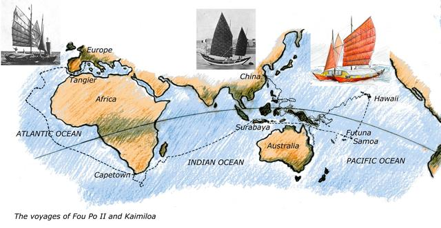 Map showing the voyages of Fou Po II and Kaimiloa