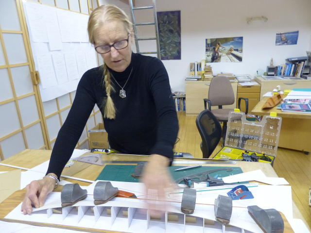 Hanneke at work in the design studio