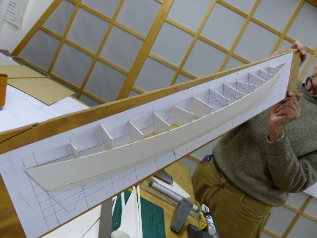 Half model of Mana hull, next to lines drawing