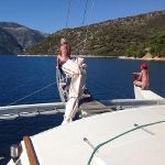 James with Gaia on her pontoon