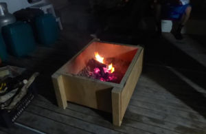 Firebox on deck, with fire lit inside