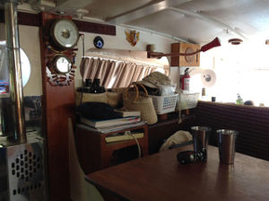 Boat interior, table and seating