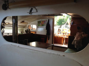 Boat interior, viewed though a hatch