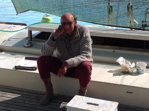 James sitting on deck
