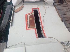 The deck that has undergone repairs