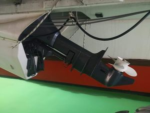 Outboard motor under the deck