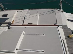 Decks and hatches with fresh white paint