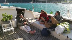 James on Largyalo with two crew members