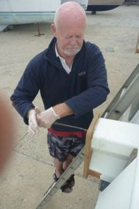 Tony working on a crossbeam cap