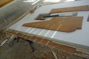 Plywood on a workbench