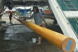 Masts suspended under Gaia deck