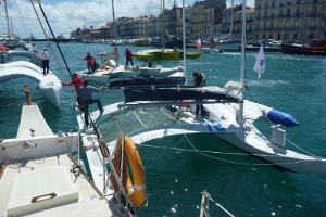 Racing multihulls in thr harbour