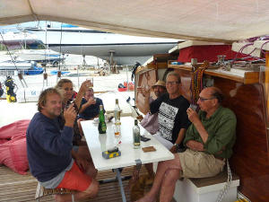 James, Hanneke and crew of Largyalo toasting