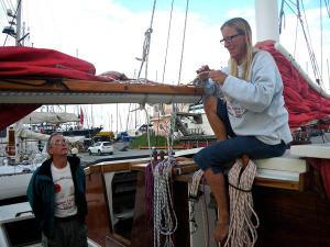 Hanneke doing rigging maintenance