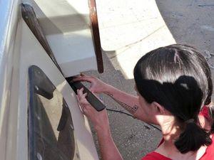 Jen making rubber pads on deck