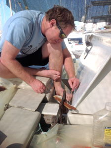 Bryce installing the new stainless steel strap