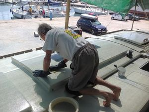 The deck surfaces being scrubbed clean