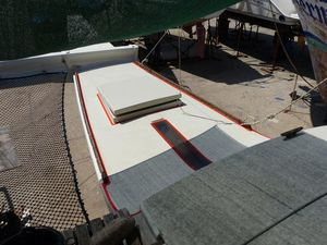 Foredeck with masking tape around the edges