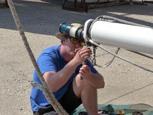 Bryce rigging a mast