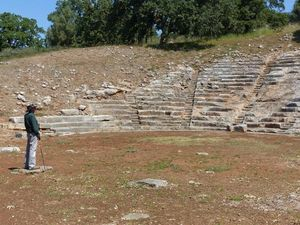 James standing in the ancient amphitheatre of Oiniadai.