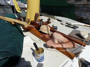 Paul working on the mizzenmast fastenings.