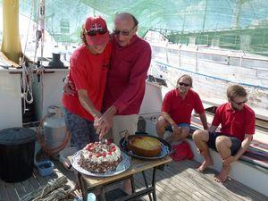 James and Petra slicing James' birthday cake