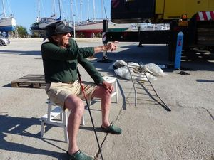 James sat in a chair on the marina