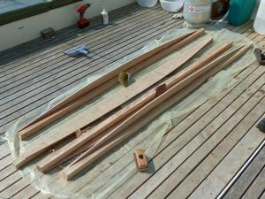 Pieces of ply and timber parts lying on deck