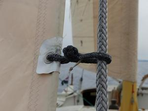 Close up of staysail Dyneema hank