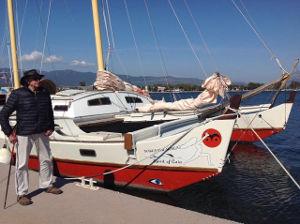 Gaia on pontoon, James standing on pontoon